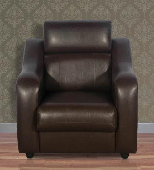 Elite One Seater Sofa In Burgundy Leatherette By Rej Interio