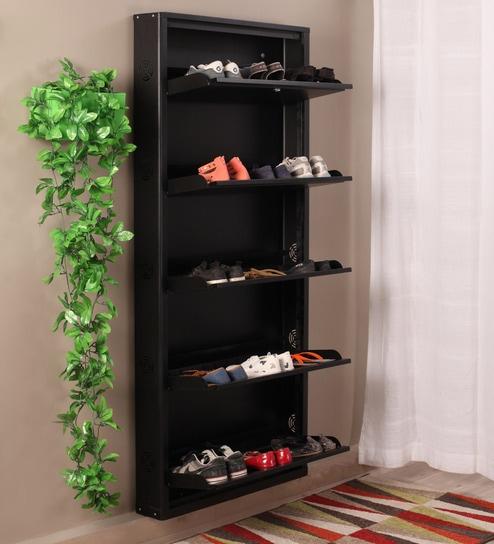 Eliteo Metal Black 5 Shelves Shoe Rack