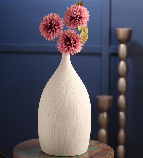 Ellielle Artefacts White Ceramic Oblong Vase By Ellielle Artefacts