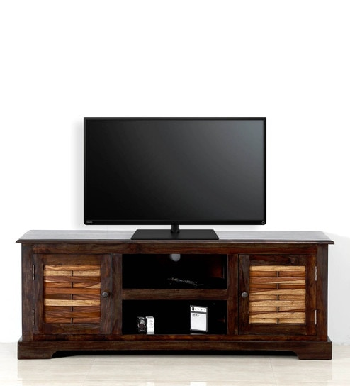 Upto 44% Off On Entertainment Units By Pepperfry | Elliston Entertainment Unit in Warm Chestnut Finish by Amberville @ Rs.17,099