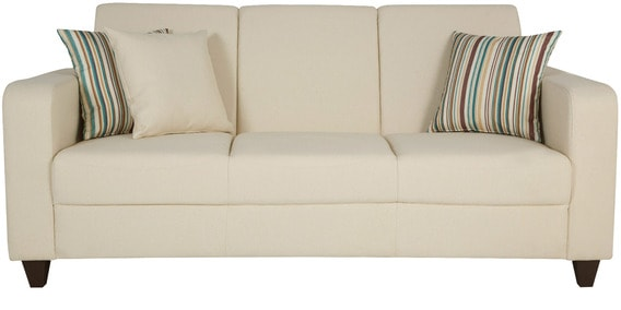 Elena Three Seater Sofa In Taupe Color With Throw Cushions By CasaCraft