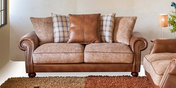 buy elizabeth three seater sofa in brown colour by durian online