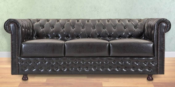 Elton Three Seater Sofa In Brown Colour By Durian