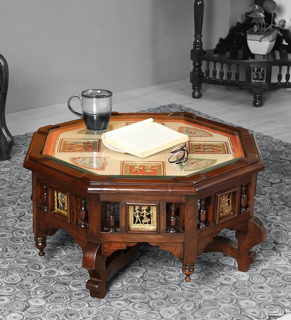 Buy Elba Coffee Table In Walnut Colour By Aakriti Art Creations Online Abstract Coffee Tables Tables Furniture Pepperfry Product
