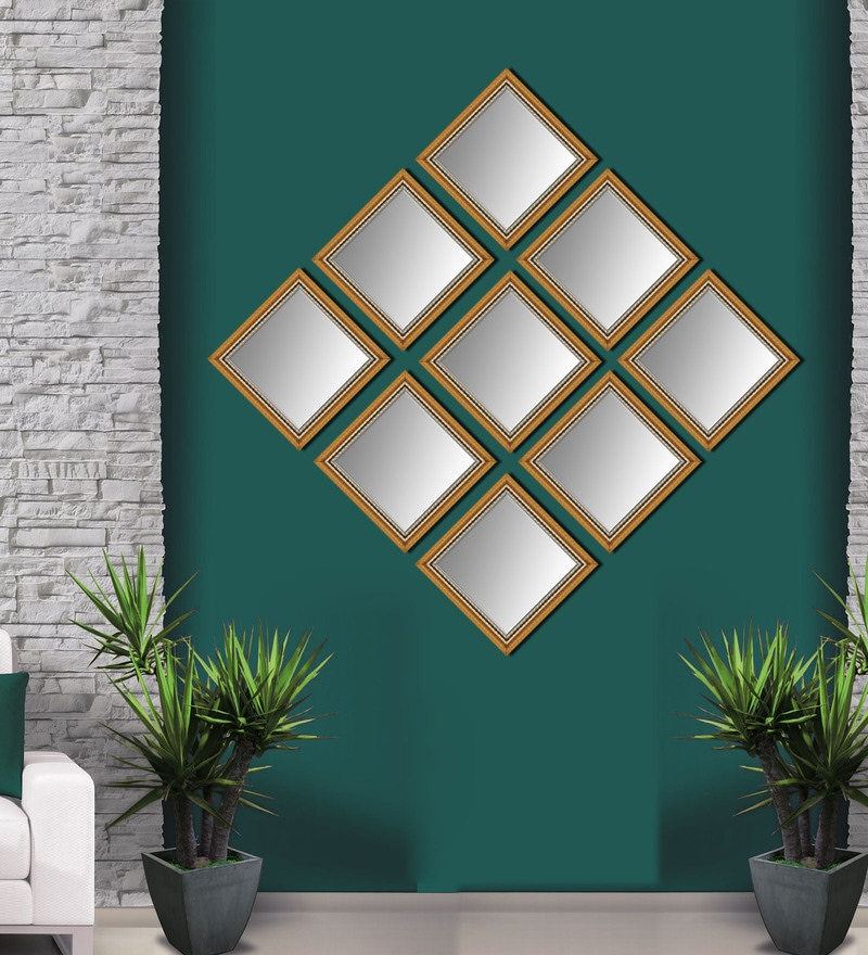 Buy Elegant Arts And Frames Antique Gold Synthetic Wood Mirrors Collage Set Of 9 Online Metal Wall Art Metal Wall Art Home Decor Pepperfry Product