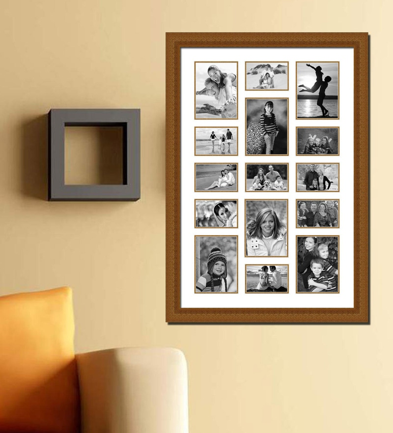 Buy Brown Wooden 28 x 1 x 40 Inch 15 Pocket Family Collage Photo ...