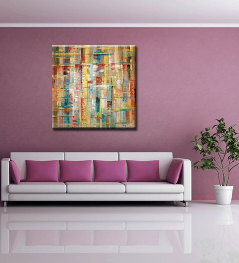 Canvas 27.6 x 27.6 Inch Dfusion by Anand Channar Framed Painting by Elegant Arts and Frames