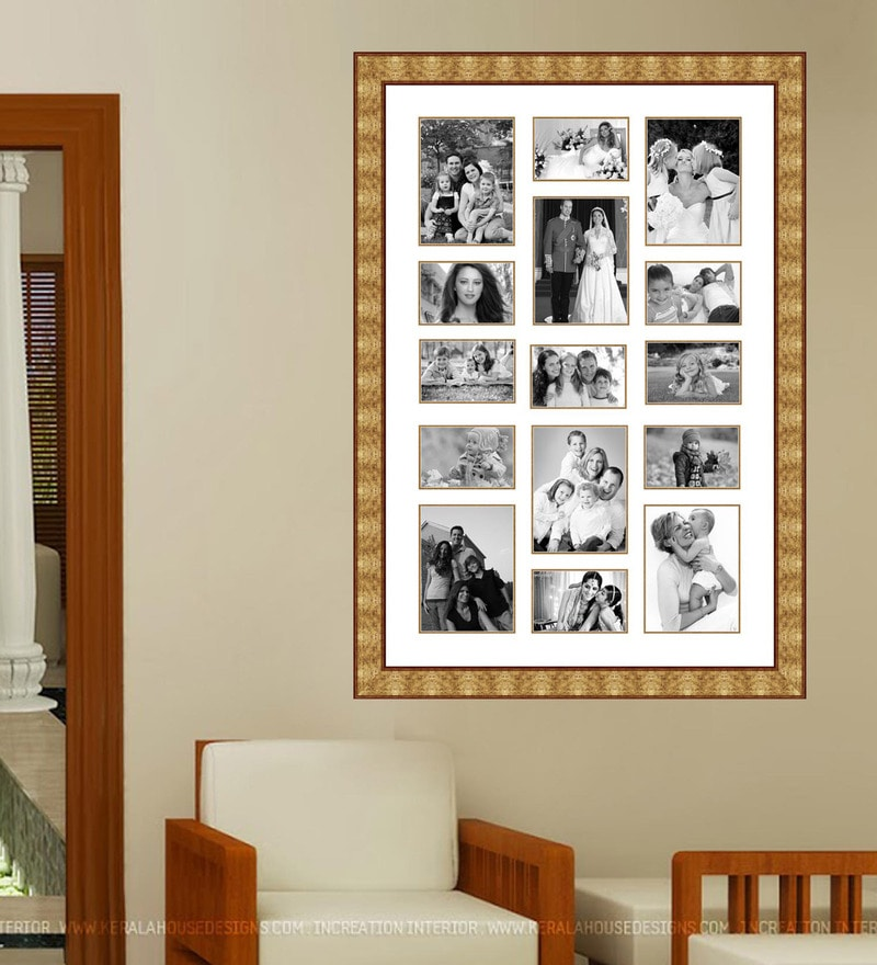 Buy Gold Wooden 28 x 1 x 40 Inch 15 Pocket Family Collage Photo ...