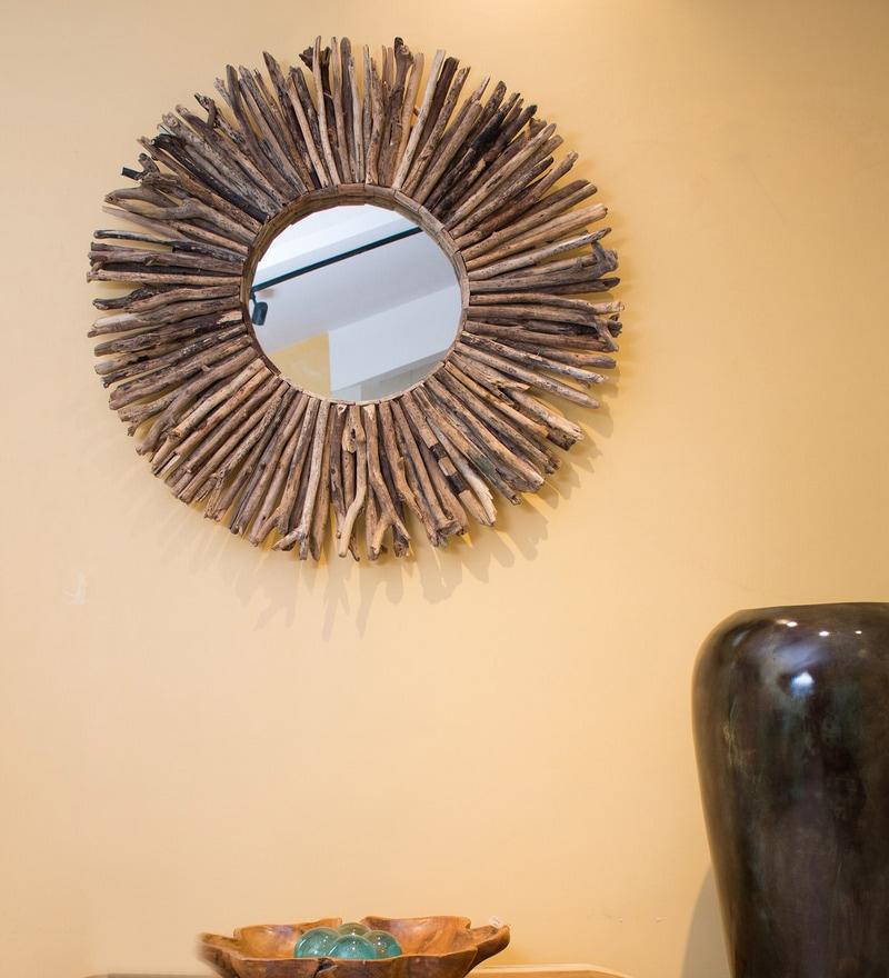Brown Wooden Driftwood Round Mirror, Driftwood Mirror Round