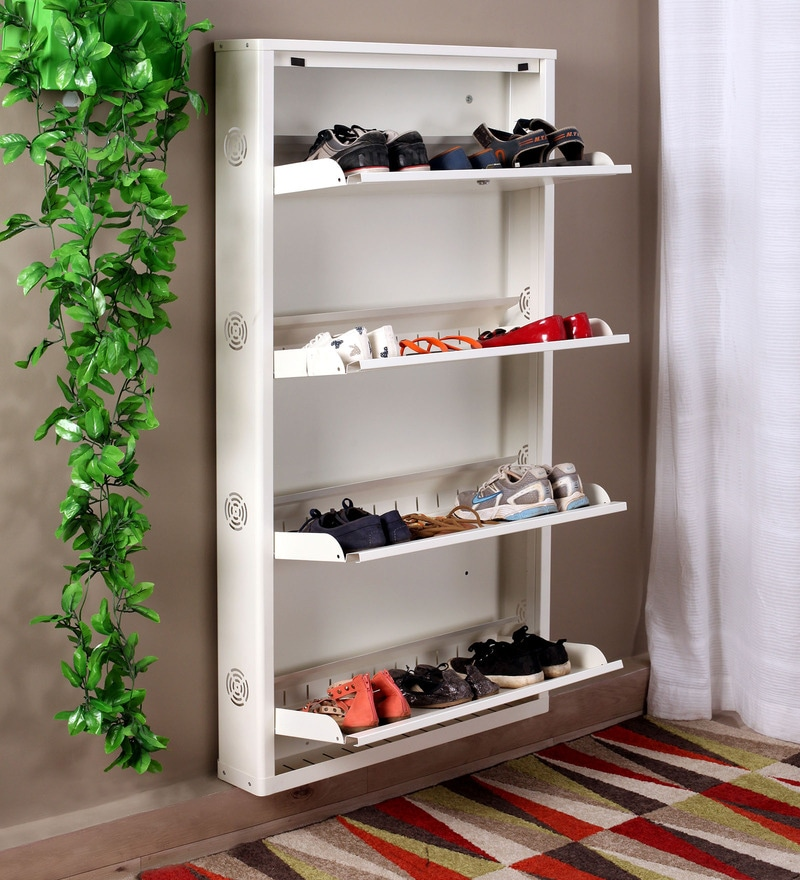 Buy Eliteo Metal White 4 Shelves Shoe Rack Online Modern