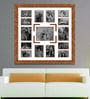 Brown Wooden 34 x 1 x 34 Inch 15 Pocket Family Collage Photo Frame by Elegant Arts and Frames