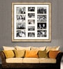 Elegant Arts and Frames Gold Wooden 34 x 1 x 34 Inch 13 Pocket Ornamental Family Collage Photo Frame