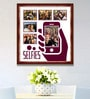 Elegant Arts and Frames Maroon Wooden 26 x 1 x 28 Inch Selfies Pattern 1 Collage Photo Frame