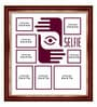 Elegant Arts and Frames Maroon Wooden 26 x 1 x 28 Inch Selfies Pattern 2 Collage Photo Frame