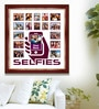 Elegant Arts and Frames Maroon Wooden 26 x 1 x 28 Inch Selfies Pattern 3 Collage Photo Frame