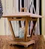 Brown Teak & Glass Topi Lantern Candle Holder by Eleganze Decor