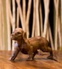 Brown Wooden Shaggy Dog Showpiece by Eleganze Decor