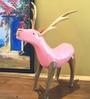 Eleganze Decor Pink Wooden Deer Showpiece