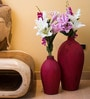 Red Ceramic Linea Vase - Set of 2 by Eleganze Decor