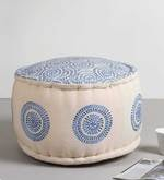 Embroidered Pouffe in Blue Colour