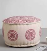 Embroidered Pouffe in Pink Colour