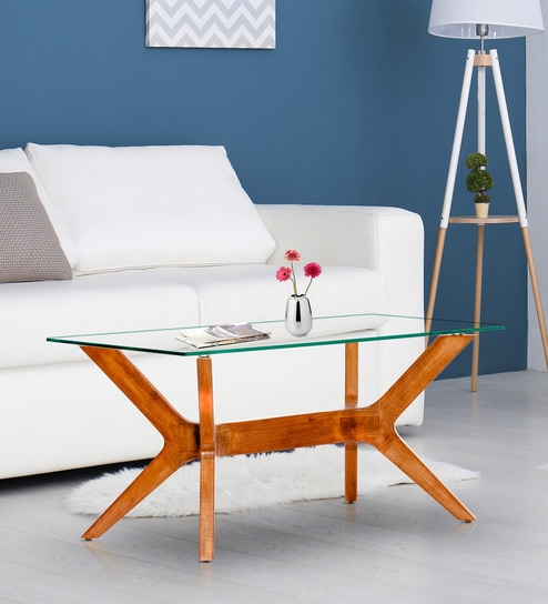 Emerge Solid Wood Centre Table In Teak Finish By F9 Furnichair