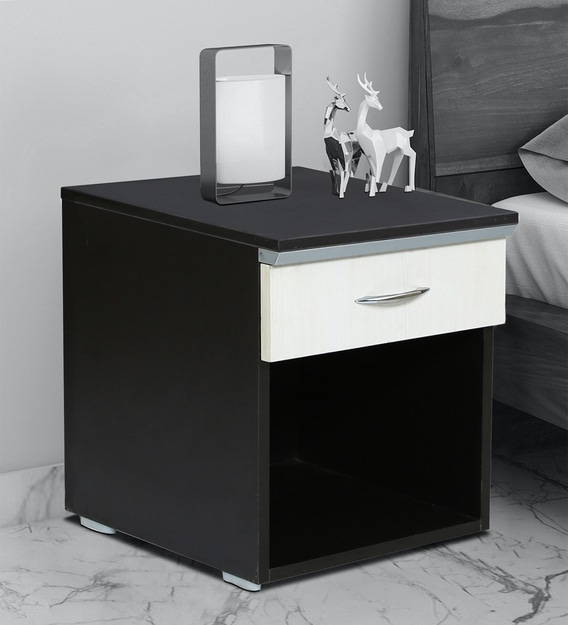 Buy Emerald Bed Side Table With Single Drawer In Wenge White Colour By Fullstock Online Modern Night Stands Tables Furniture Pepperfry Product