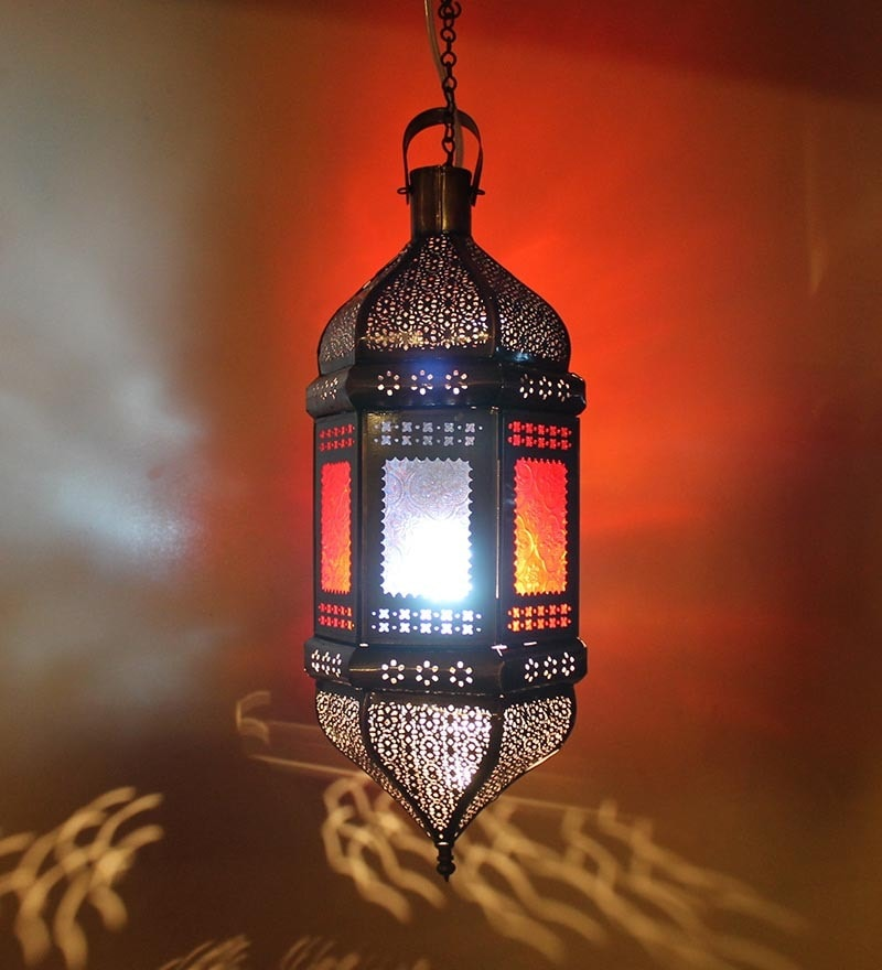 Buy EMANATE HOME Black Moroccan Lantern Hanging Light