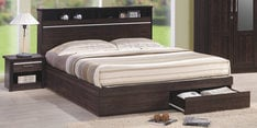 Enri Queen Size Bed with Front Drawers and Box Storage in Wenge Finish