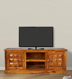 Entertainment Unit In Golden Oak Finish By Wooden Emporium