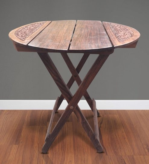 Buy End Table With Cross Legs In Brown Colour By Saaga Online