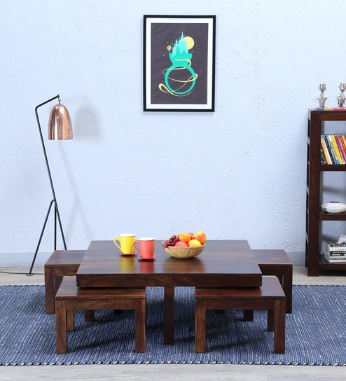 Enkel Coffee Table Set In  Provincial Teak Finish