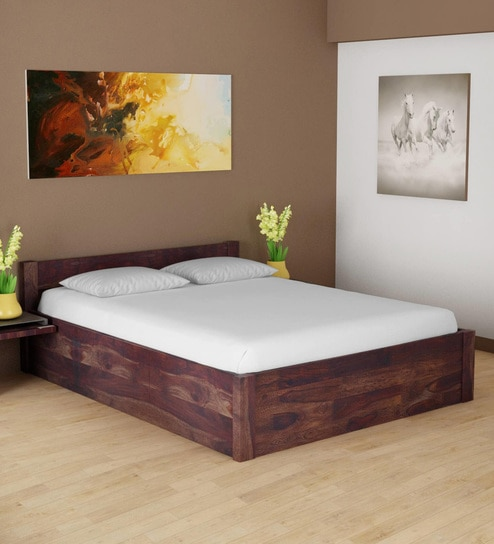 Enkel Solid Wood King Size Bed With Storage In Provincial Teak Finish By Woodsworth