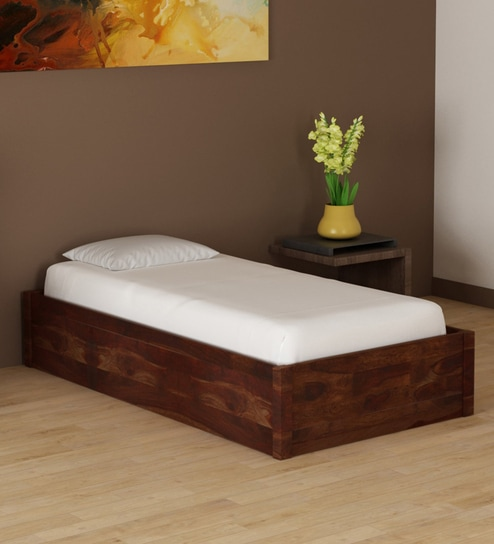. Enkel Solid Wood Single Bed with Box Storage in Provincial Teak Finish by  Woodsworth