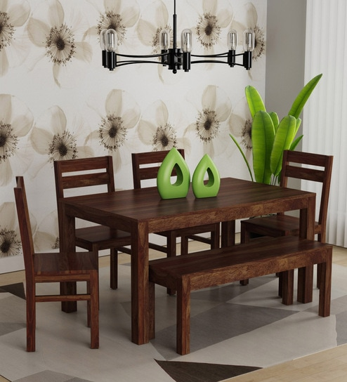 Enkel Solid Wood Six Seater Dining Set With Bench In Provincial Teak Finish By Woodsworth