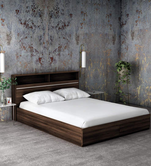 Buy Enri Queen Size Bed With Front Drawers And Box Storage In Wenge