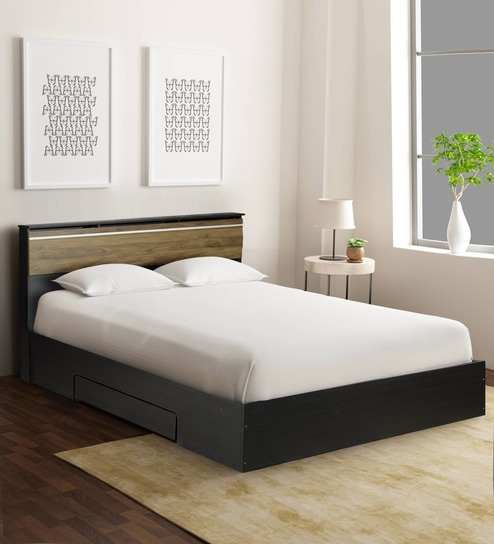 Buy Enri Queen Size Bed With Storage In Wenge Finish By Mintwud