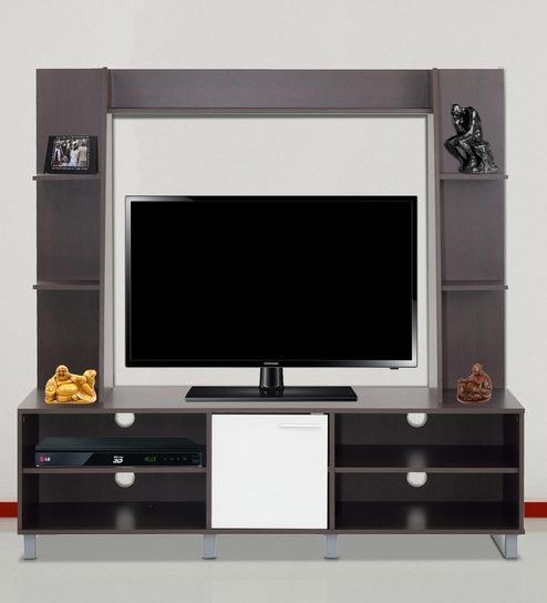 Buy Enrou Entertainment Wall Unit in Chocolate Beech and White ...