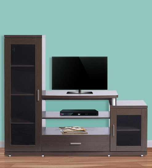 Buy TV Unit Roger in Dark Walnut Finish by @home Online - Modern TV ...