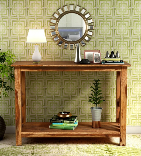 best cheap 698d0 63662 Enumclaw Solid Wood Console Table In Rustic Teak Finish By Woodsworth