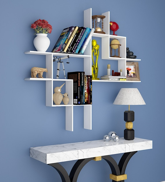 Buy Engineered Wood Wall Shelf In White Colour Online Modern Wall Shelves Wall Shelves Home Decor Pepperfry Product