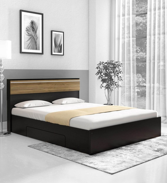 Buy Enri Queen Size Bed With Storage In Wenge Finish By Mintwud Online Modern Queen Size Beds Beds Furniture Pepperfry Product