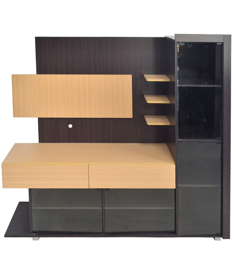 Buy Entertainment Unit with Four Glass Doors in Brown & Wenge Colour ...