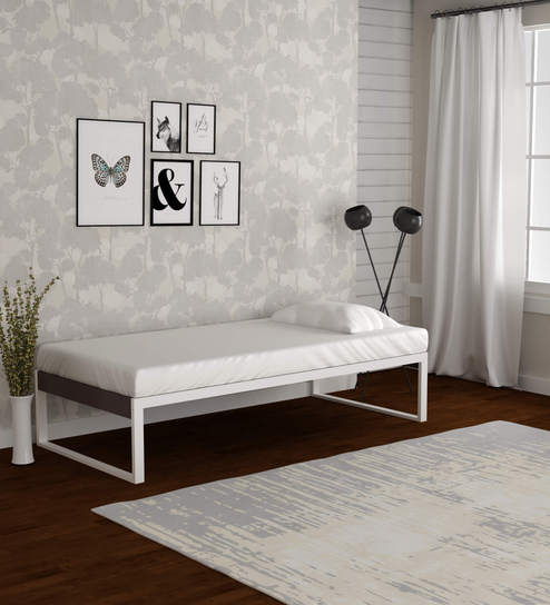 Buy EQ Metal Single Day Bed in Off White & Brown Finish by ...