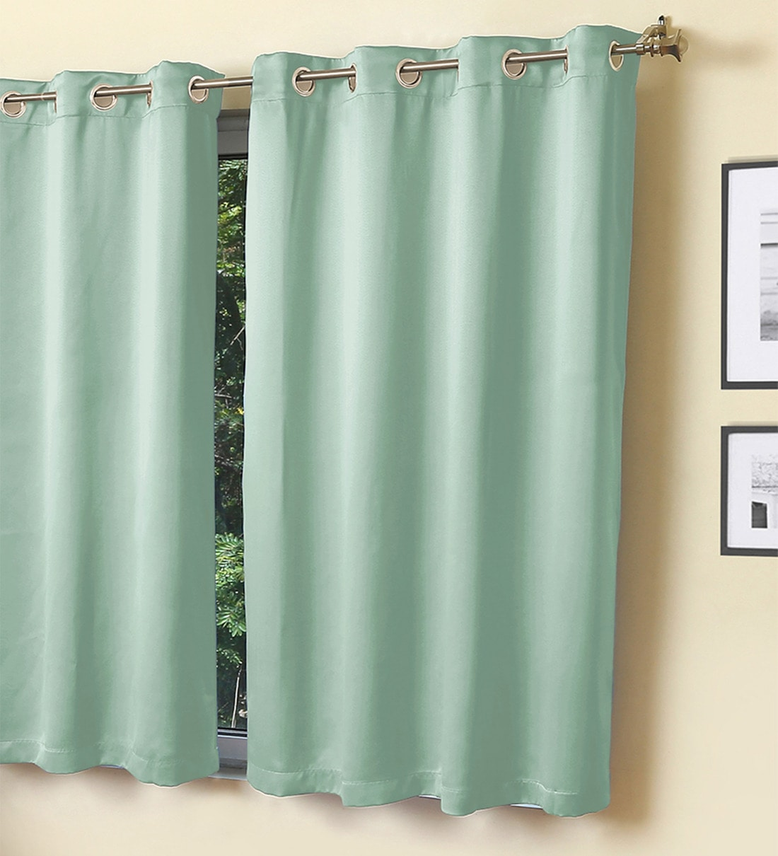 Buy Erba Blackout Mint Green Colour 5 Feet Set Of 1 Window Curtain By Rosara Home Online Solid Colour Window Curtains Furnishings Home Decor Pepperfry Product
