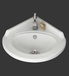 Eros Wall Hung White Ceramic Wash Basin (Model: Corner-WB)