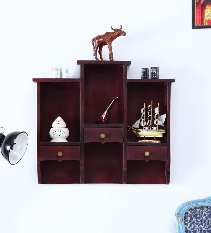 Mahogany Mango Wood Wall Shelf with hooks for wall hanging by Satyam International