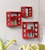 Red Engineered Wood Shelve - Set of 3 by Home Sparkle