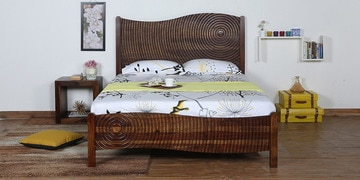 Espiral Solidwood Queen Bed In Provincial Teak  Finish
