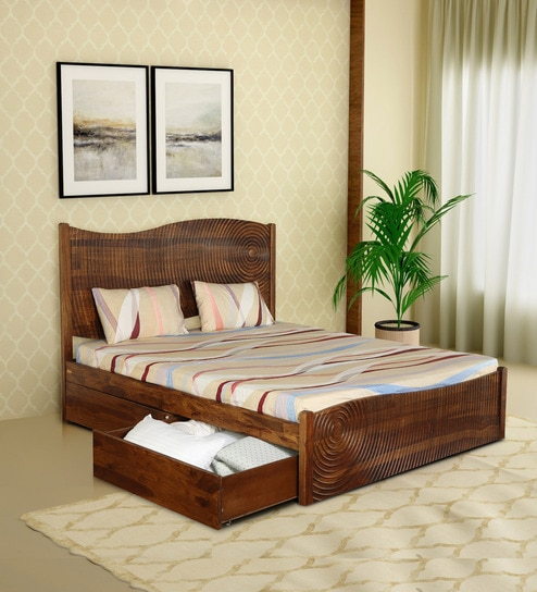 Espiral Solid Wood King Size Bed With Drawer Storage In Provincial Teak Finish By Woodsworth